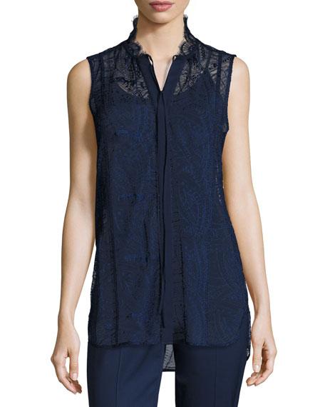 Lafayette 148 New York Annetta Sleeveless Tie-Neck Lace