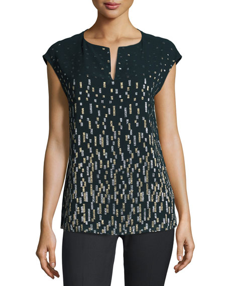 Lafayette 148 New York Joanie Short Dolman-Sleeve Metallic