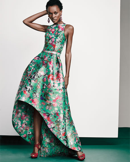 Sleeveless Floral Mikado High-Low Gown, Malachite