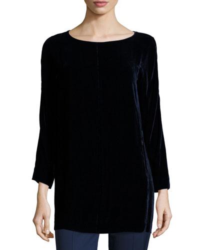 Amara Bracelet-Sleeve Velvet Tunic, Galaxy Blue
