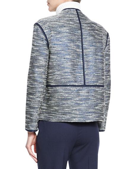 Dane Collarless Asymmetric Woven Jacket, Ink Multi