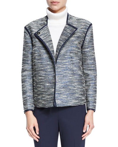 Dane Collarless Asymmetric Woven Jacket, Ink Multi