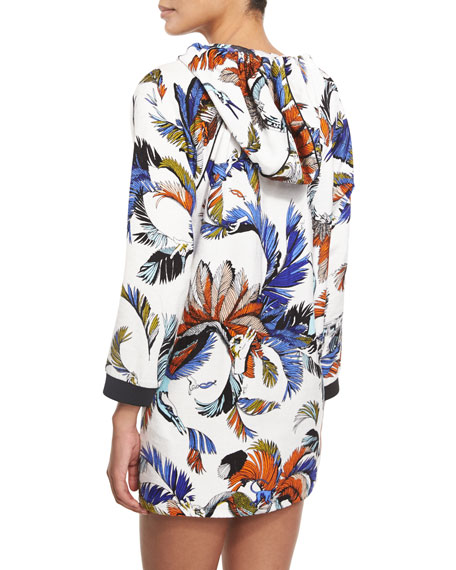 Jungle-Print Hooded Coverup Tunic