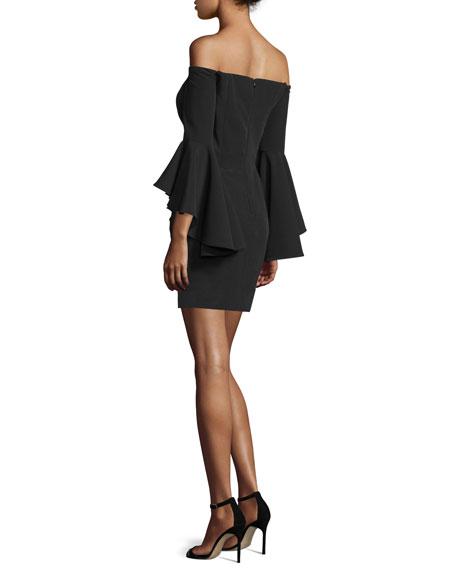 Selena Short Italian Cady Dress W/Cascade Sleeves, Black