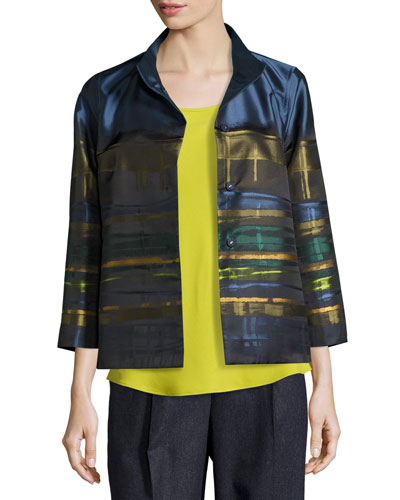 Vanna Mandarin-Collar Striped Satin Swing Jacket, Aegean Multi