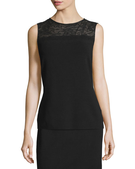 Lafayette 148 New York Needle-Punched Lace-Yoke Tank, Black