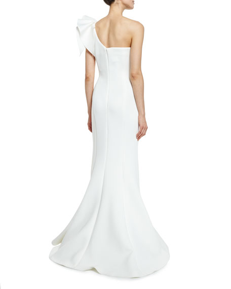 Jovani One-Shoulder Ruffle-Trim Mermaid Gown, Off White