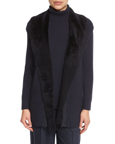 Long Cap-Sleeve Vest w/ Fur Collar, Ink