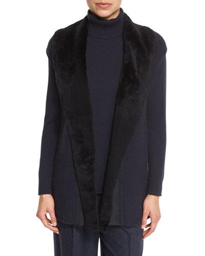 Long Cap-Sleeve Vest w/ Fur Collar, Ink Price