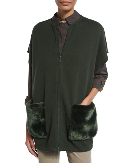 Ribbed Zip-Front Vest w/ Faux Fur Pockets, Vineyard