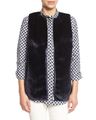 Kieran Zip-Front Faux-Fur Combo Vest, Galaxy Blue