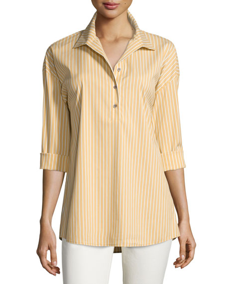 Lafayette 148 New York Franca Striped Long-Sleeve Half-Button
