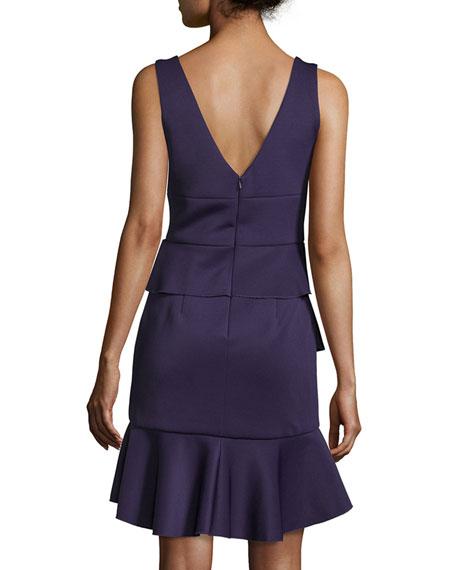 Sleeveless V-Neck Ruffle Dress, Purple