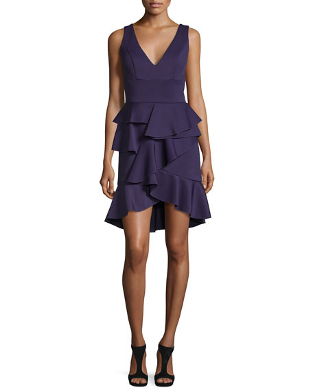 Sleeveless V-Neck Ruffle Dress, Purple