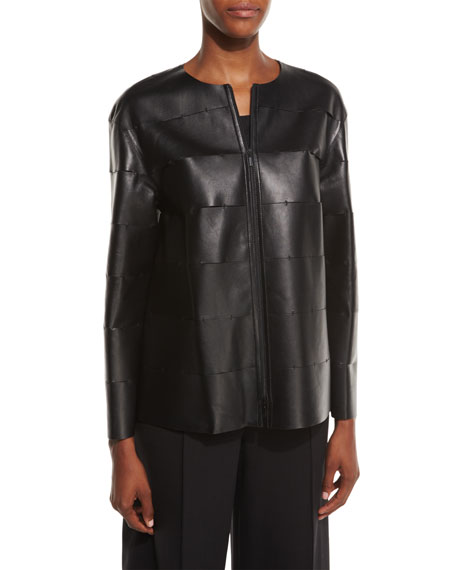 Lafayette 148 New York Murphy Zip-Front Leather Jacket,