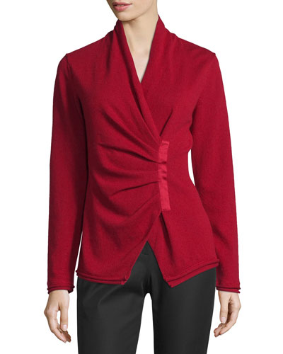 Gathered Asymmetric Surplice-Neck Cashmere Sweater, Ruby Red