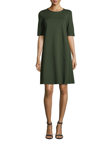 Lafayette 148 New York Charmeuse-Trimmed Half-Sleeve Shift Dress,