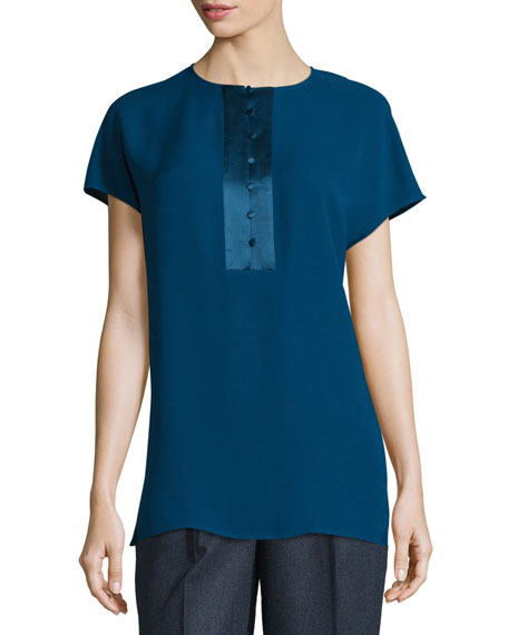 Lafayette 148 New York Azalea Short-Sleeve Half-Placket Silk