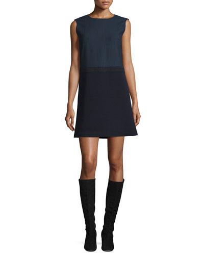 Vilma Sleeveless Dress w/ Crepe Skirt, Ink