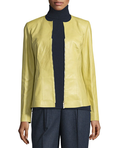 Maris Split-Neck Lambskin Leather Jacket, Plantain