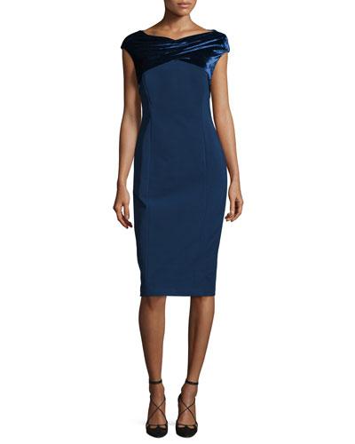 Cap-Sleeve Crossover Velvet-Trimmed Sheath Dress, Galaxy Blue