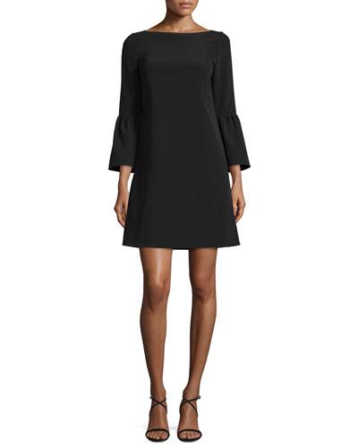 Marisa Bell-Sleeve Shift Dress, Black