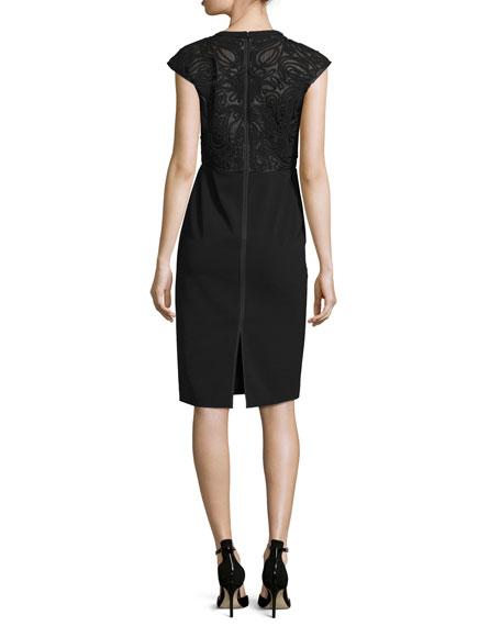 Cap-Sleeve Talon Sheath Dress w/ Lace Back, Black