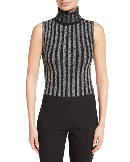 cinq a sept Cielo Turtleneck Metallic-Striped Top, Black/Silver