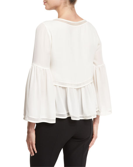 Wisteria 3/4-Sleeve Tiered Blouse, Ivory