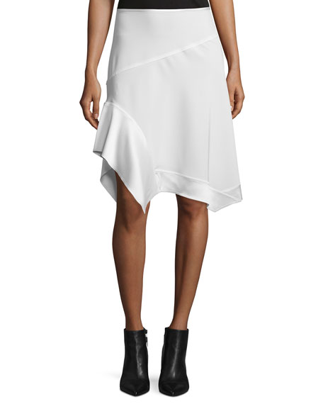 DKNY Paneled Asymmetric Crepe Skirt, Chalk