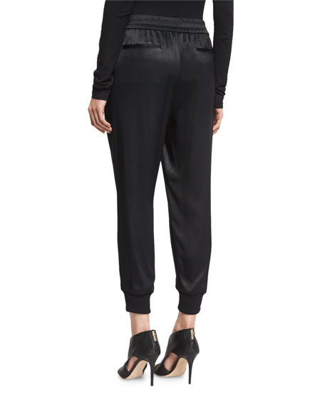 Cropped Satin Track Pants, Black