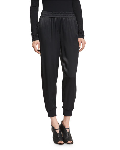 DKNY Cropped Satin Track Pants, Black