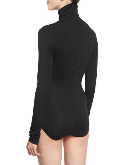 Long-Sleeve Jersey Turtleneck Bodysuit, Black