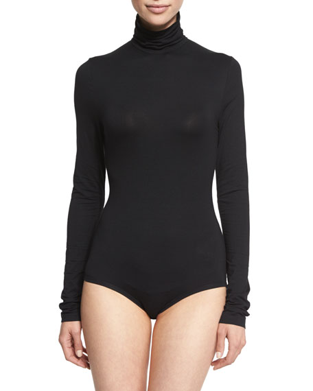 DKNY Long-Sleeve Jersey Turtleneck Bodysuit, Black
