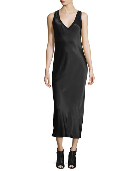 DKNY Sleeveless V-Neck Midi Dress, Black