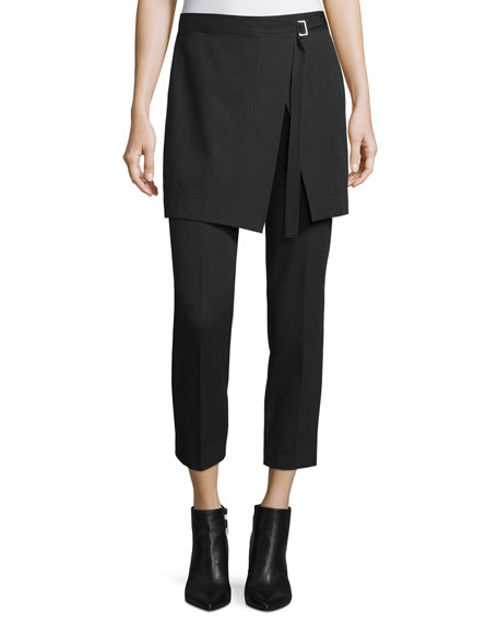 Skirted Cropped Pants, Black