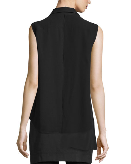 Sleeveless Asymmetric Chiffon Top, Black