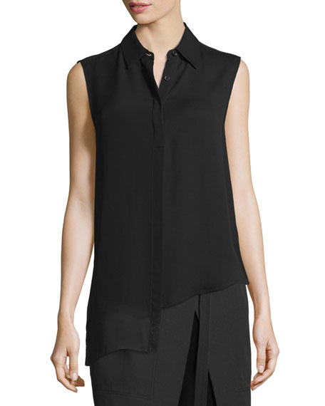 DKNY Sleeveless Asymmetric Chiffon Top, Black