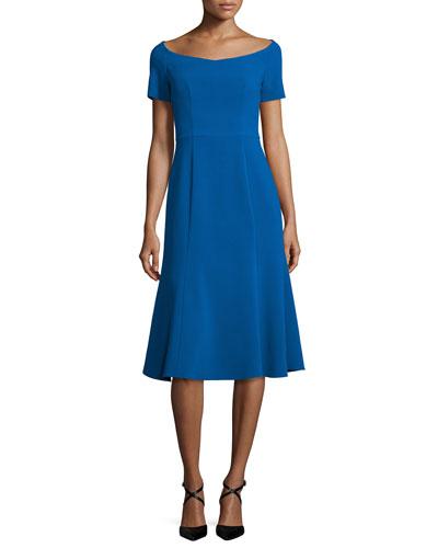 Short-Sleeve Stretch Jersey Midi Dress, Shoreline