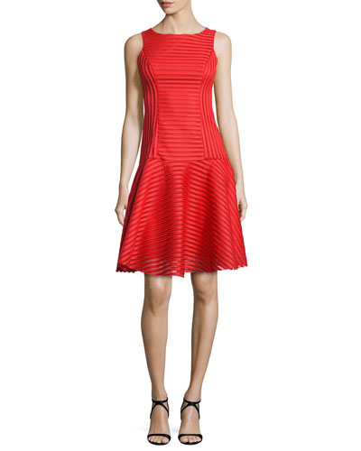 Sleeveless Banded Mesh Cocktail Dress, Escape Red