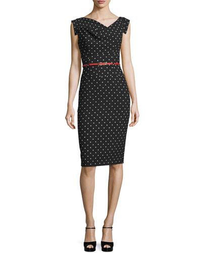 Belted Polka-Dot Sheath Dress, Black/White