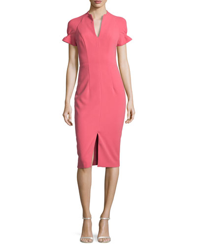 Stretch Crepe Sheath Dress, Begonia