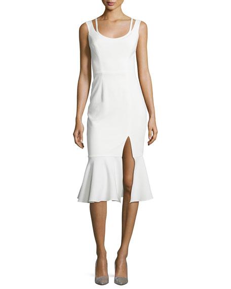 Black Halo Sleeveless Flounce Midi Dress, Porcelain