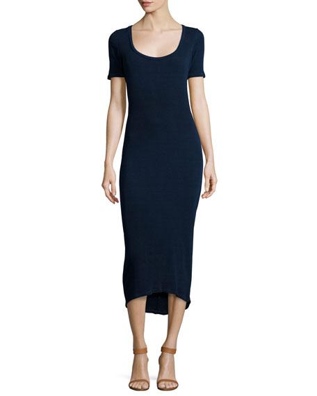 AG Elli Short-Sleeve Fitted Midi Dress, Indigo Knit