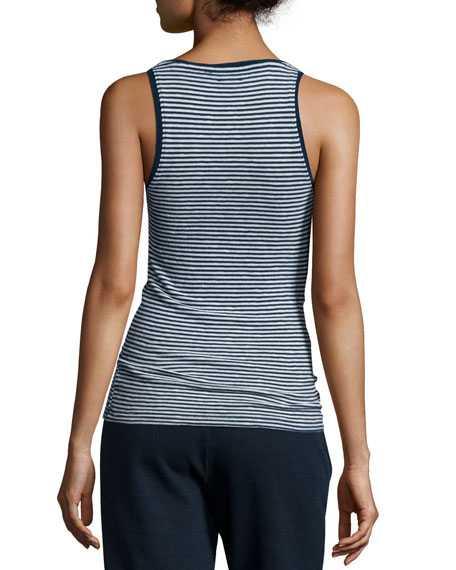 Iso Scoop-Neck Skinny-Striped Tank, Indigo Knit Two