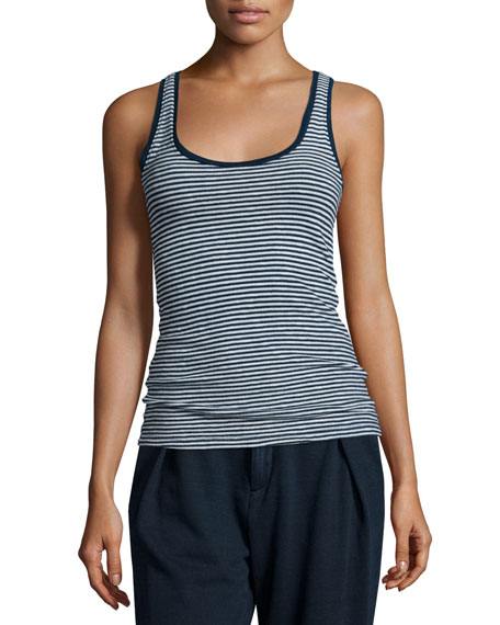 AG Iso Scoop-Neck Skinny-Striped Tank, Indigo Knit Two