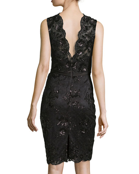 Sleeveless Floral Lace Sheath Dress, Black