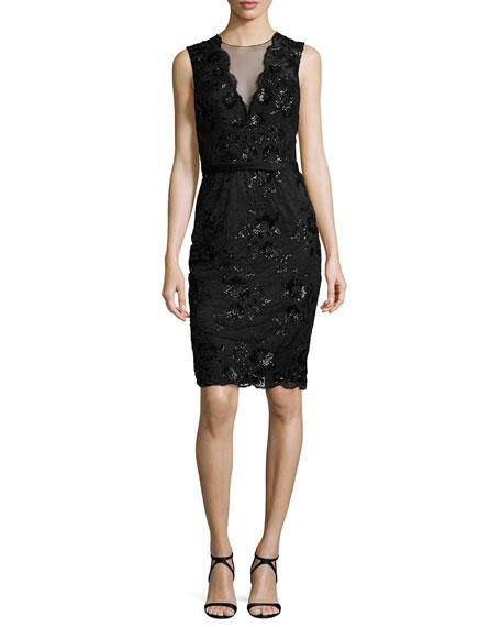 Sleeveless Floral Lace Sheath Dress, Black