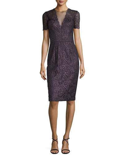 Short-Sleeve Lace Cocktail Dress, Grape