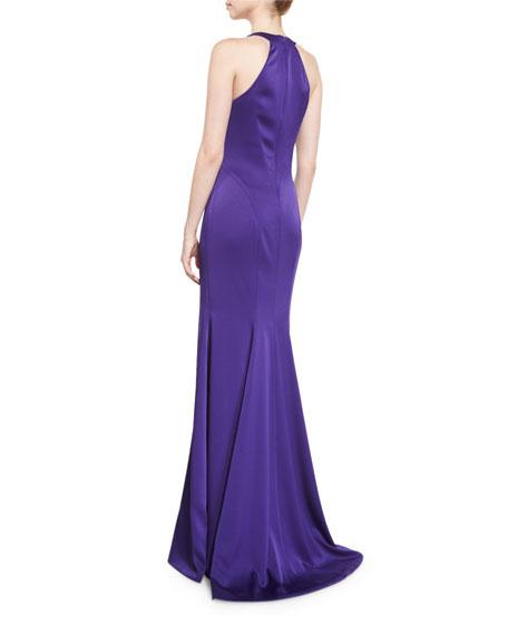 Sleeveless Satin Contour Gown, Purple